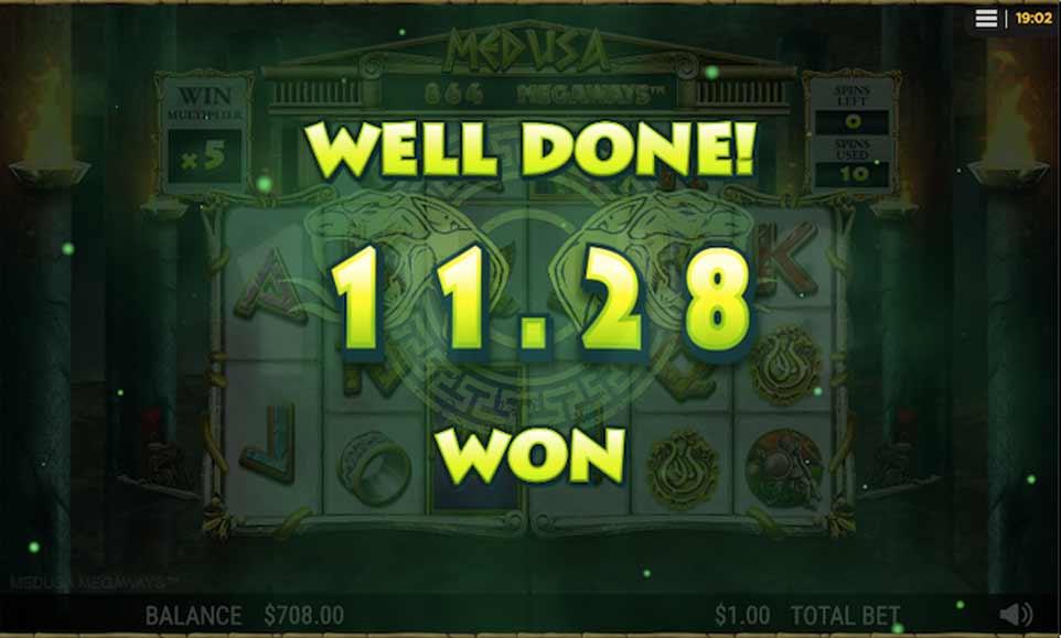Medusa Megaways Bonus End